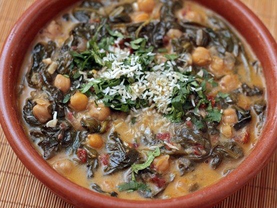 YUM! BRAISED COCONUT SPINACH WITH CHICKPEAS AND LEMON