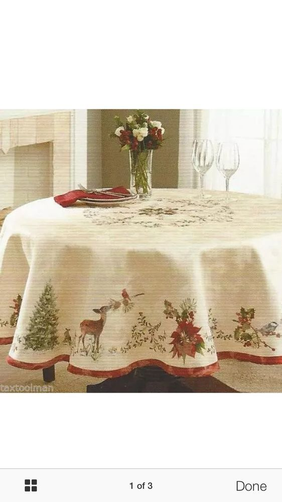 """better homes gardens CHRISTMAS HERITAGE deer TABLECLOTH 70"""" Round NEW…"""