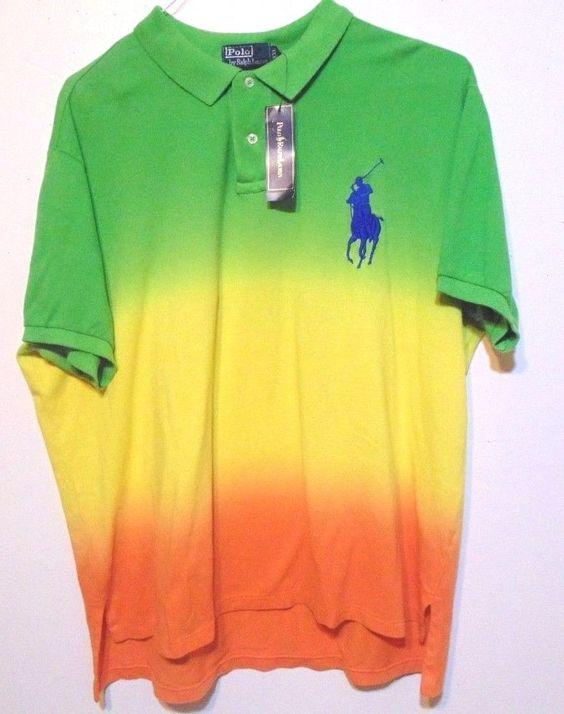 Ralph Lauren Men's Orange Big Pony Green Polo