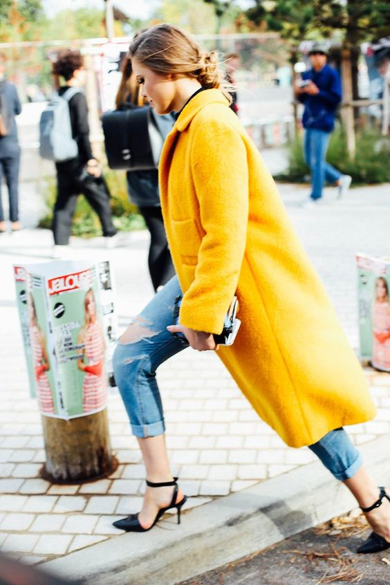 Bold coat with denim and heels.: