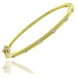 Molly and Emma 18k Gold Overlay Cubic Zirconia Children's Bangle Bracelet