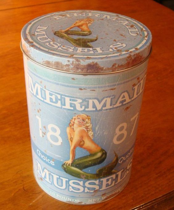 vintage beach decor | Vintage Mermaid Mussels Kitchen Canister Seafood Restaurant Beach Home ...