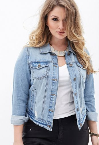 Distressed Denim Jacket by www.forever21.com on CurvyMarket.com