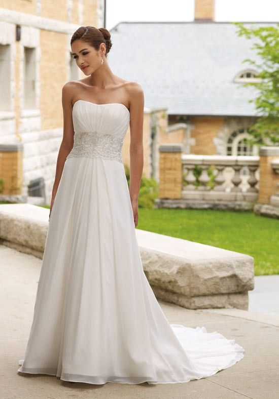 Engaging Strapless Appliques Beads Working Chiffon Satin Bridal Gowns - Beach Wedding Dresses - Wedding Dresses