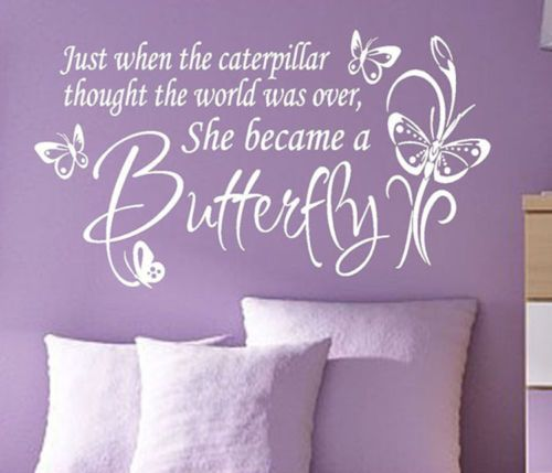 Butterfly Nursery Kids Vinyl Wall Lettering Quote Caterpillar or Kisses Decal   eBay