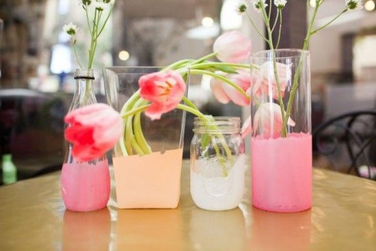 Painted glass: Dipped Vases, Diy Craft, Glass Vase, Painted Jars, Diy Painted Vases, Diy Vase