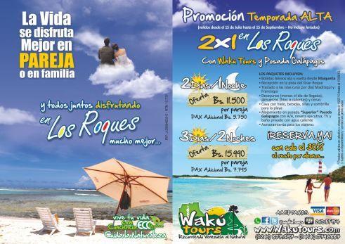 Promocion 2x1 Los roques   Mas Info: www.wakutours.com/contacto.php