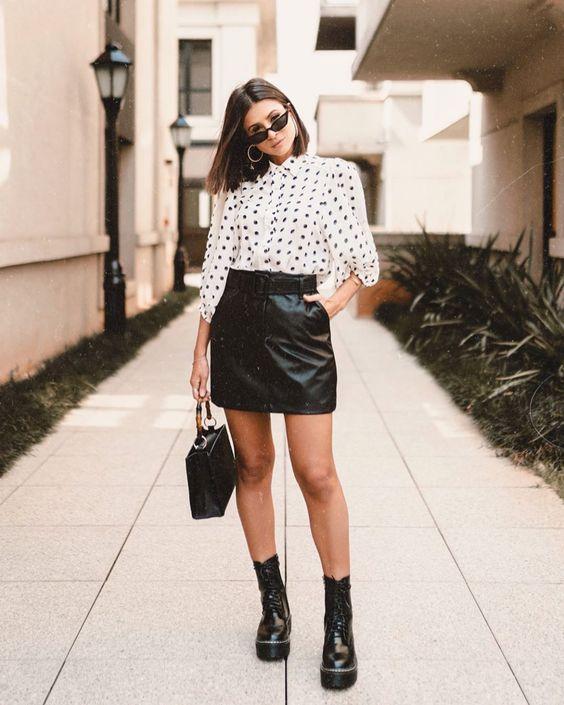 estilo casual com saia preta