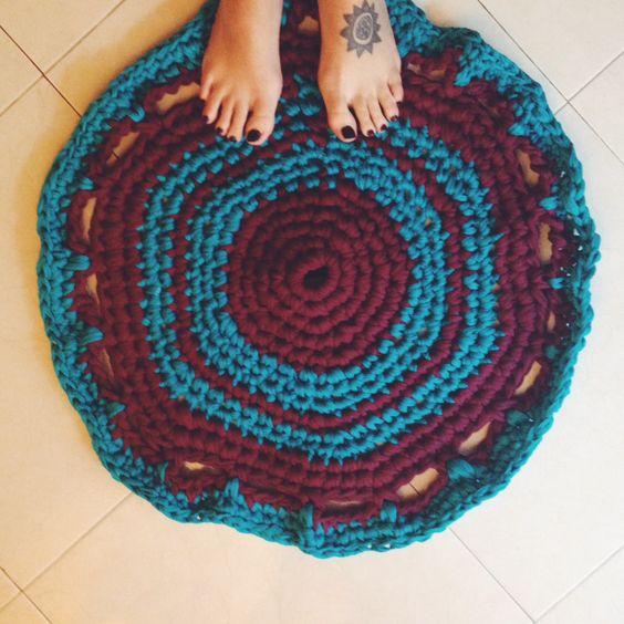 #Alfombra de trapillo. #Crochet #rug.