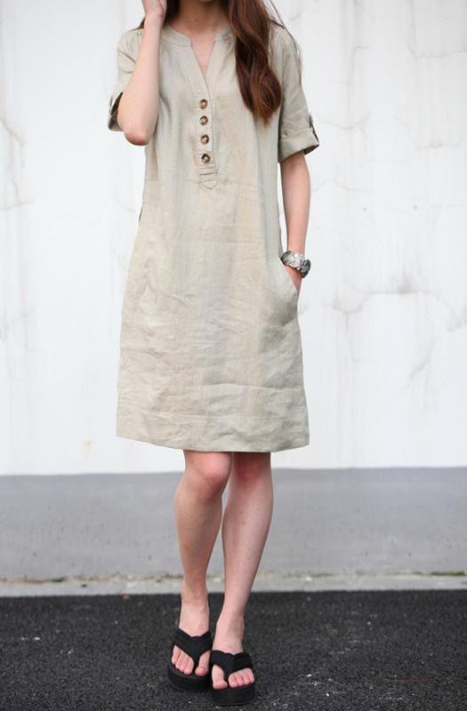 Khaki linen dress maxi dress cotton dress casual loose cotton ...
