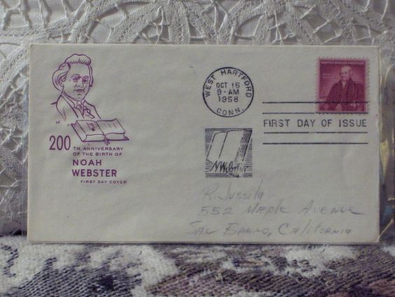 http://ajunkeeshoppe.blogspot.com/  First Day Issue / Cover - Stamp - Noah Webster 200th 1958 4c 8ozP725B4HP1204
