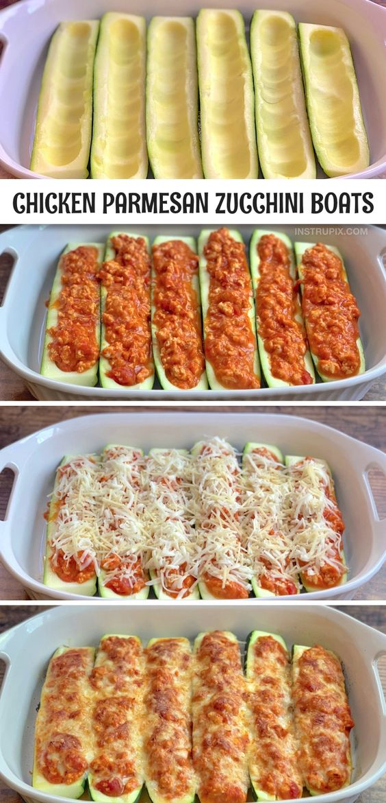 Keto Chicken Parmesan Stuffed Zucchini Boats (A quick & easy healthy dinner recipe!)