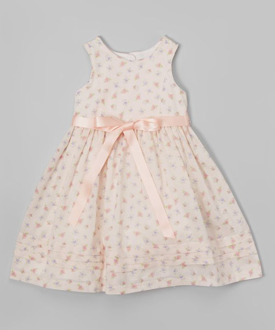 Laura Ashley London Peach Floral Bow Dress - Infant, Toddler & Girls by Laura Ashley London #zulily #zulilyfinds