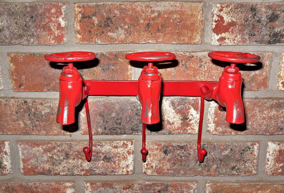 Rustic Industrial Water Spigot 3 hook/ rack by Theshabbyshak