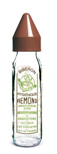 Biberon régul'air   VINTAGE  240ml-tétine NN silicone- système  marron