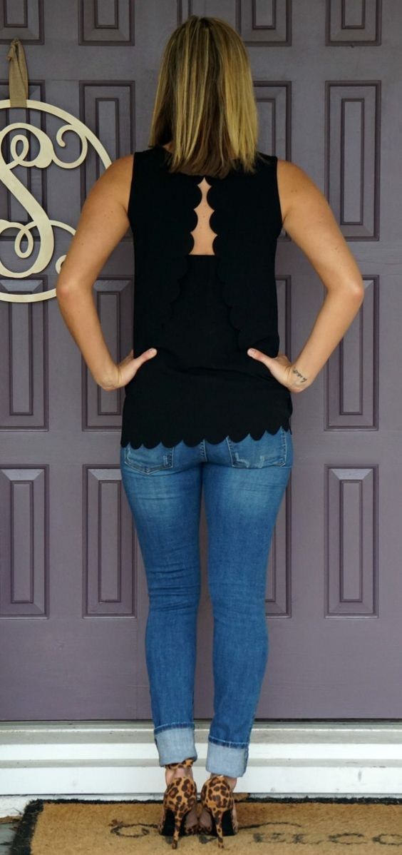 Stitch Fix Papermoon Violeta Scallop Detail Blouse - love the scalloped edges and open back!