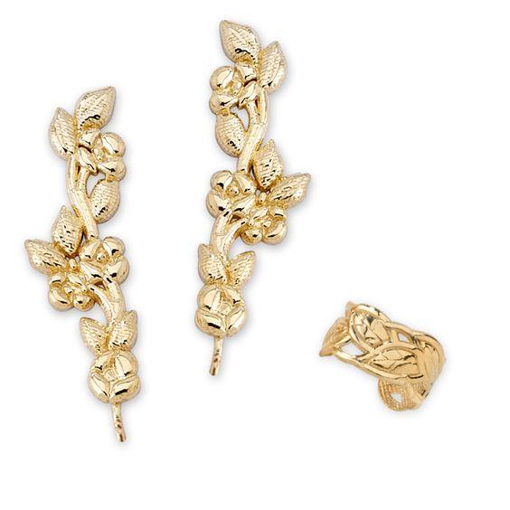 Gold Over Silver Floral Vine Ear Pin Earrings with Leaf Earcuff Earring #earpinearrings #sterlingsilverearpins #earringsthatgoup #pinearrings #earpinsjewelry #earpin #earpin #earspirals #earspirals #slideonearrings #climbtheearearrings #wrapearrings #nonpiercedearrings #earcuffs #personalizedbracelets #earcuffs #cuffearrings #cliponearrings #earspiralsearrings #earspiralearrings
