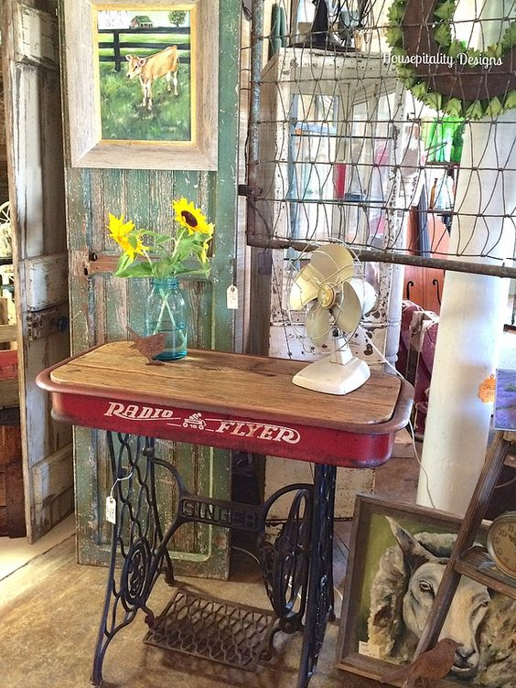 Vintage Singer Machine Stand with Radio Flyer Wagon Top - Housepitality Designs