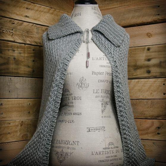 """Loom Knit Cape Pattern, loom knit wrap, shawl, pattern. Full length loom knit Cape Pattern. """"Cape Constance"""". Instant PDF Download."""