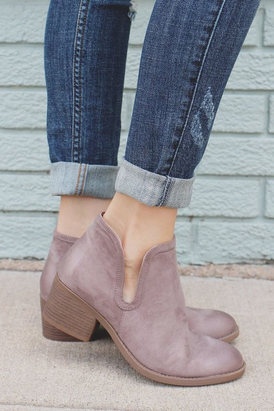 Taupe Round Toe Ankle Cut Out Booties Philly-09: