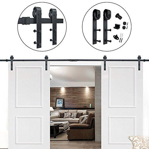 Hahaemall Antique Rustic 12 Ft 144 J Shape Sliding Barn Wood Door Hardware Heavy Bearing Flat Tracks Double Do Door Kits Double Sliding Barn Doors Wood Doors