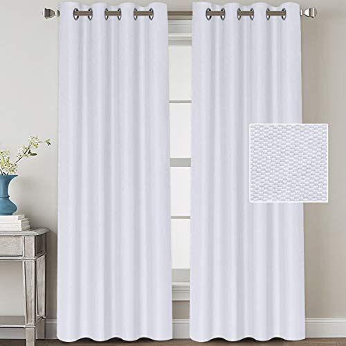 H Versailtex Linen Blackout Curtains 108 Inches Long Room Darkening Heavy Duty Burlap Efffect Textured Linen C In 2020 Linen Blackout Curtains White Curtains Long Room