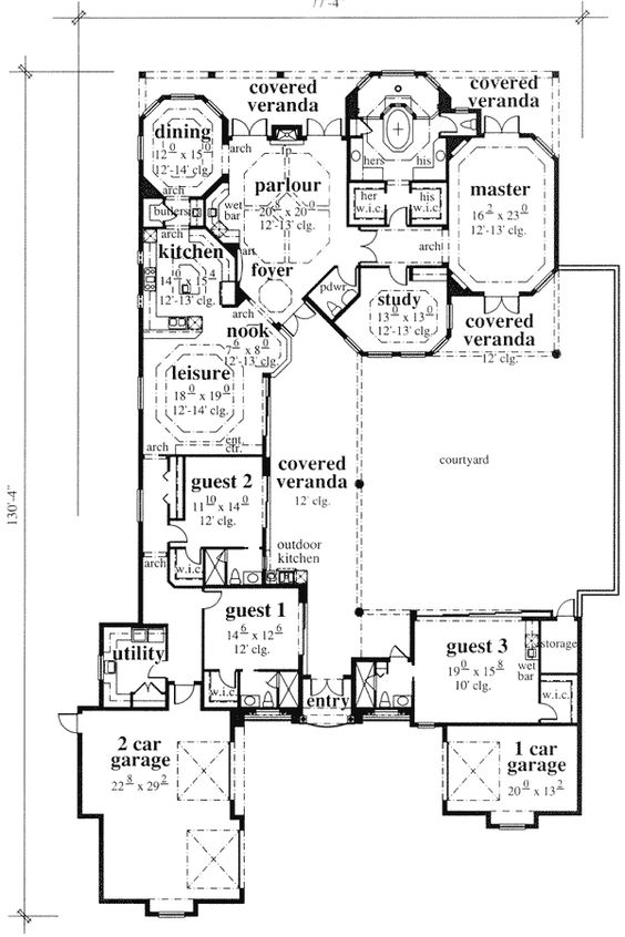 Plan 46022hc craftsman home with master sitting room for Mediterranean floor plans with courtyard