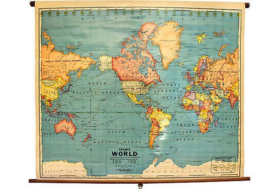 George E. Cram Co. World Map on OneKingsLane.com