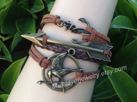 Catching fire bracelet Brown,cupid arrow bracelet,mockingjay pin bracelet,Leather bracelet,Hunger bird bracelet,hipster,Braided Bracelet