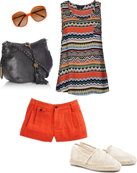patterned orange, created by mellowknee on Polyvore