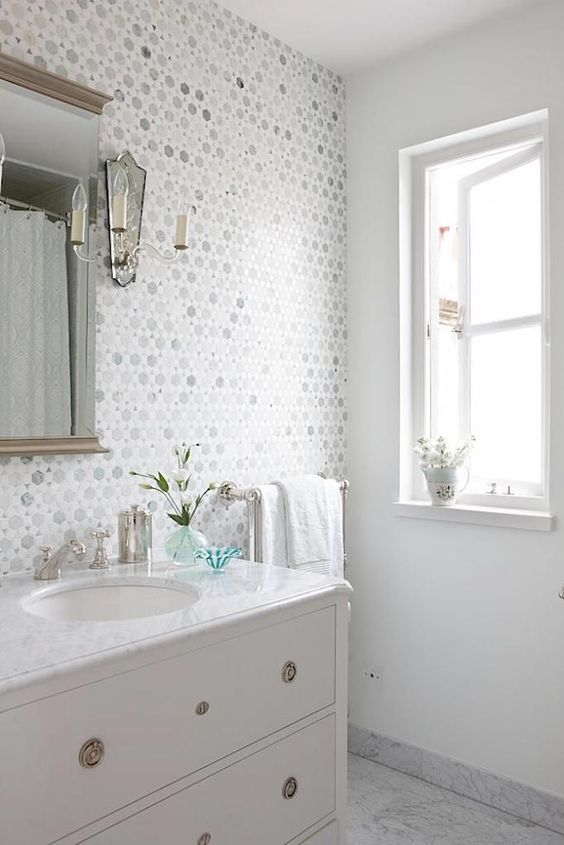 BECKI OWENS- Bathroom Style Trend: Tile Statement Wall