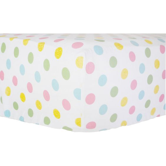 Polka Dot Multi Colored Crib Sheet for Baby Girls Pink Aqua Yellow &... ($38) ❤ liked on Polyvore featuring bedding, black and home & living