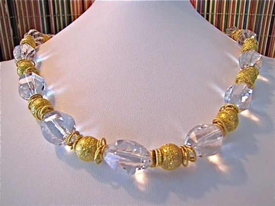 crystal necklace #handmade #beaded #gold #jewelry #christmas gifts #holidays