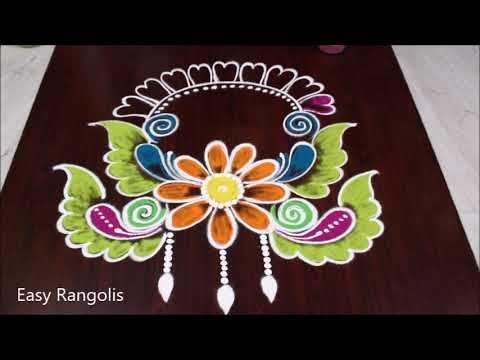 New Year Rangoli 2020 Latest New Year Kolam New Year Special Rangoli In 2020 Special Rangoli New Year Rangoli Colorful Rangoli Designs