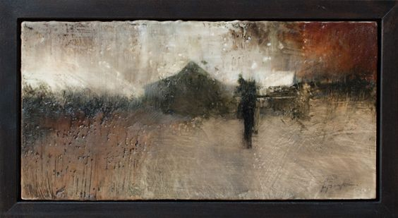"""Sugar Woods House II, Encaustic, 6"""" x 12"""", Charlie Hunter"""