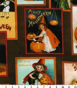Halloween postcard fabric! #adorable