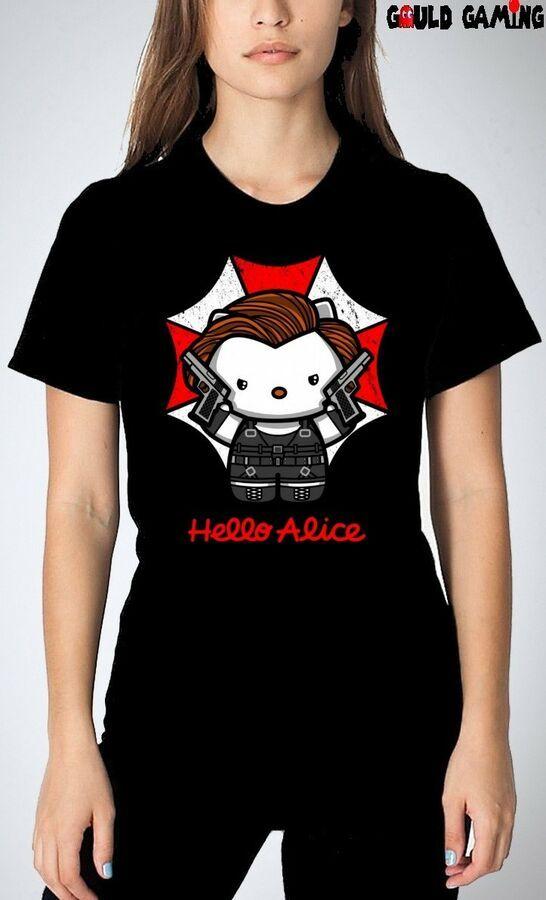 Resident Evil Hello Kitty T-Shirt Unisex Umbrella Alice Halloween Adult Size New