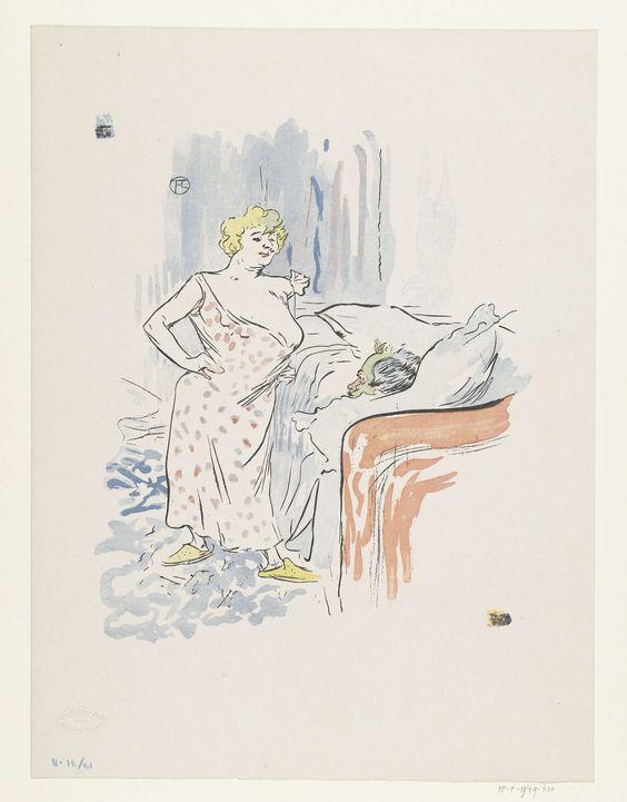 Edouard Kleinmann | Man in bed en prostituee in slaapkamer, Edouard Kleinmann, 1896 | Een man ligt in bed en een vrouw of prostituee staat voor hem met haar borsten ontbloot en haar handen in haar zij. Onder de reproductie van de illustratie in het weekblad Le Rire staat een franse tekst die de humoristische strekking van deze voorstelling duidelijk maakt. De vrouw vraagt aan de man wat hij voor zijn ontbijt lust.