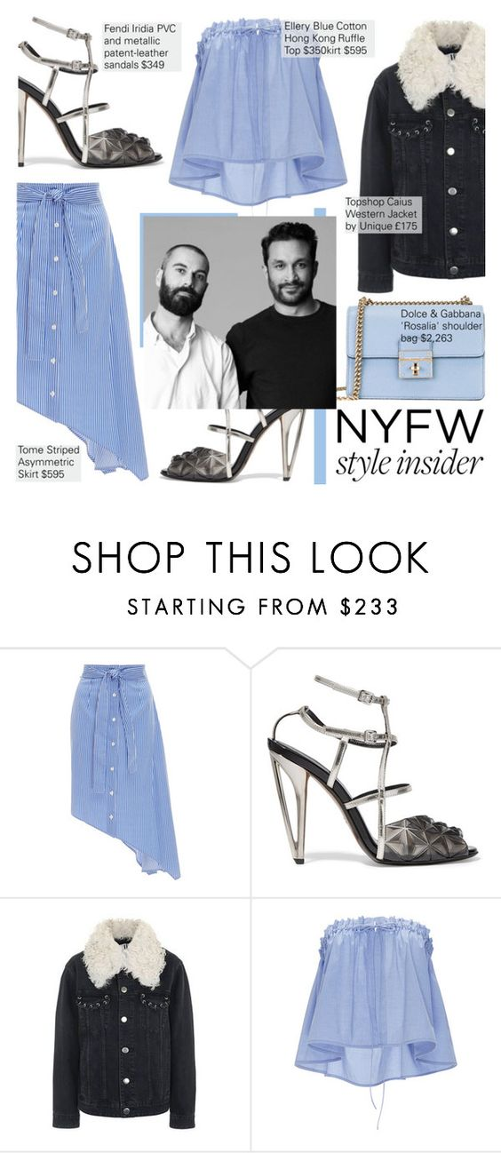 """""""Tome Show"""" by nindi-wijaya ❤ liked on Polyvore featuring Tome, Fendi, Topshop, E L L E R Y, Dolce&Gabbana, NYFW, nyfwstyle and nyfwstreetstyle"""