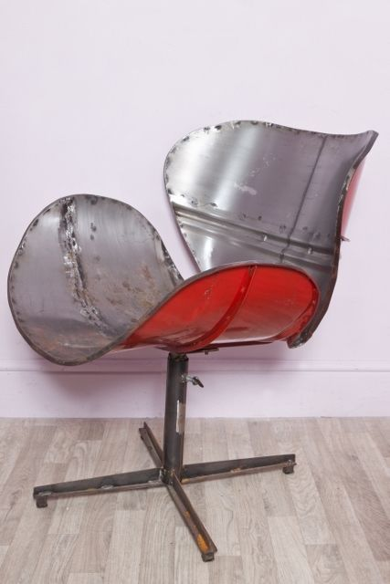 Details About Large Upcycled Metal Oil Drum Swivel Chair