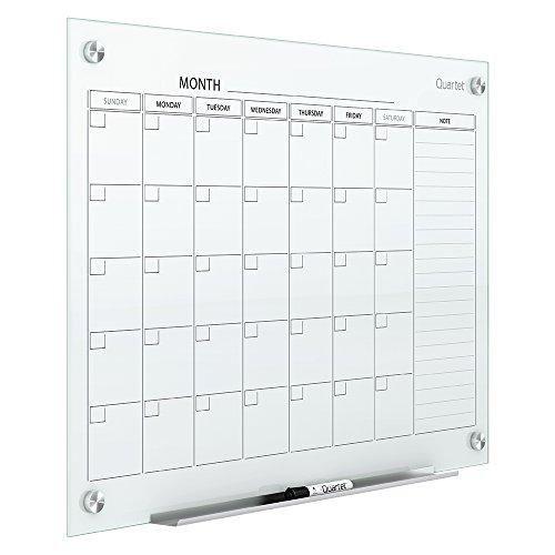 Quartet Magnetic Whiteboard Calendar Glass Dry Erase White Board