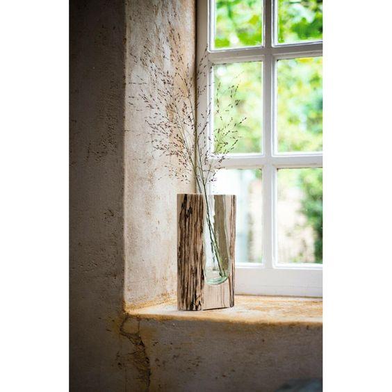 Leonardo Casolare Vase 36 cm Holzvase Materialmix Glas und Holz 03851