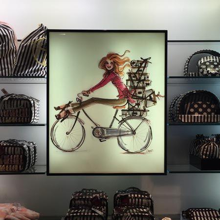 Izak Zenou at #henribendel #izakart #bendelsgirl #fashionillustration #bicycles #fungifts www.henribendel.com www.shopizak.com www.traffic-nyc.com