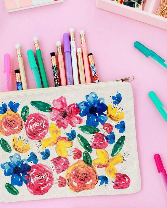 DIY Watercolor Floral Pencil Pouch