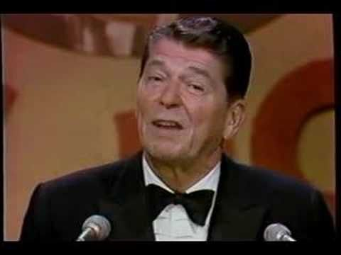 Ronald Reagan roasts George Burns at a Dean Martin Celebrity Roast on May 17, 1978. It had been three years since Reagan was Governor of California, and two years until he'd be President of the United States.