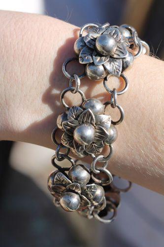 Vintage Mexican Mexico 980 Fine Silver Huge ORB Flower Link Bracelet | eBay