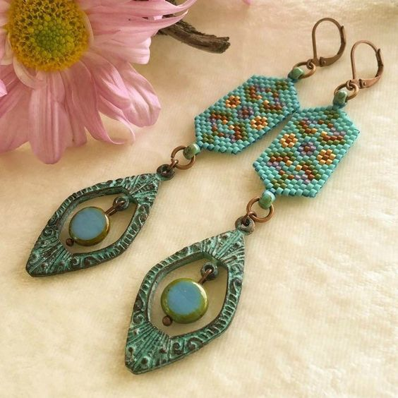 NEW: The colorful beadwork, along with the playful movement and natural long form, give these turquoise bohemian earrings a unique look ~ newly listed in our exclusively handmade shop