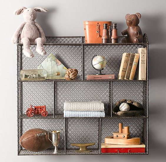 Vintage Wire Cubby Shelf - Large