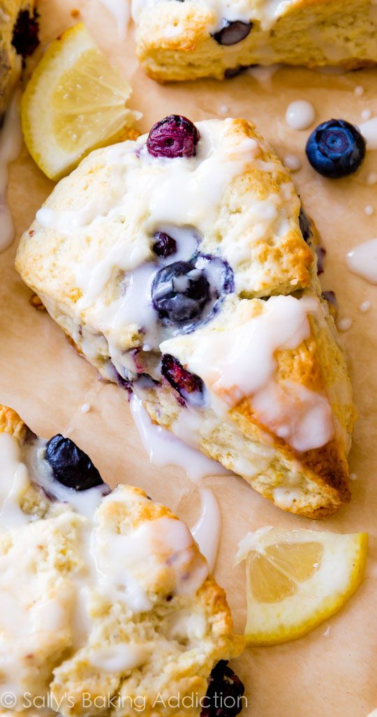 My go-to scone recipe used for nearly ANY add-ins! Here they are with juicy blueberries and sweet lemon glaze!