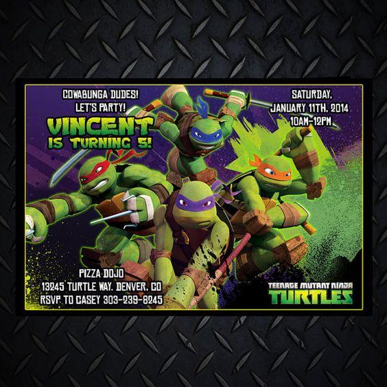Teenage Mutant Ninja Turtles Invitations TMNT Personalized Ninja – Ninja Turtle Birthday Party Invitations